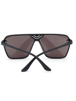 Black Solid Color Metal and Plastic Trendy Square Sunglasses
