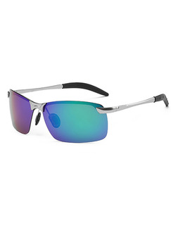 Blue Gradient Mirror Metal and Plastic Rectangle Sunglasses