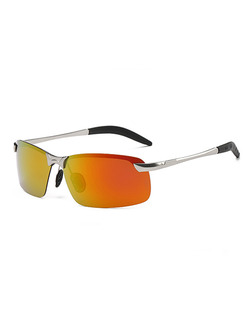 Orange and Yellow Gradient Metal and Plastic Rectangle Sunglasses