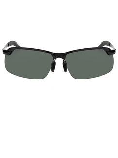 Green Solid Color Metal and Plastic Rectangle Sunglasses