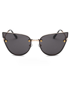 Black Solid Color Metal and Plastic Cat Eye Sunglasses