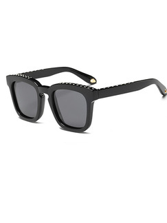 Black Solid Plastic Polarized Square Sunglasses