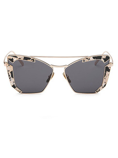Black Solid Metal and Plastic Polarized Trendy Cat Eye Sunglasses