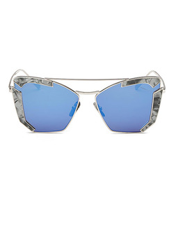 Blue Solid Color Metal and Plastic Trendy Cat Eye Sunglasses