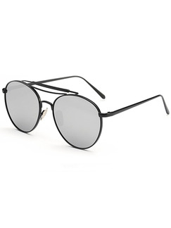 Grey Solid Color Metal Round Sunglasses