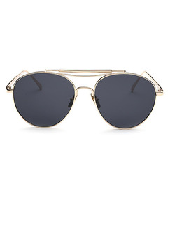 Black Solid Color Metal Round Sunglasses