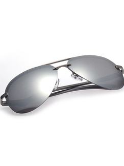 Black and Silver Gradient Mirror Metal and Plastic Polarized Aviator Sunglasses