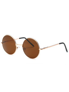 Brown Solid Color Metal and Plastic Round Sunglasses