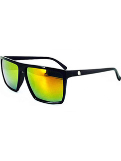 Yellow Green Gradient Mirror Plastic Square Sunglasses
