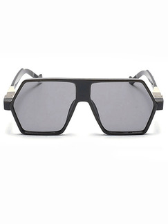 Black Solid Color Plastic and Metal Trendy Irregular Sunglasses