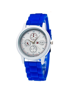 Blue Rubber Band Bracelet Quartz Watch