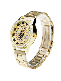 Gold Stainless Steel Band Bracelet Beaded Quartz Watch