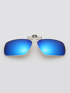 Blue Solid Color Metal and Plastic  Polarized Clip-on Sunglasses