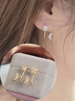 Alloy and Rhinestone Moon and Star Stud
