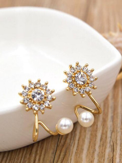 Pearls and Rhinestone Sun Stud