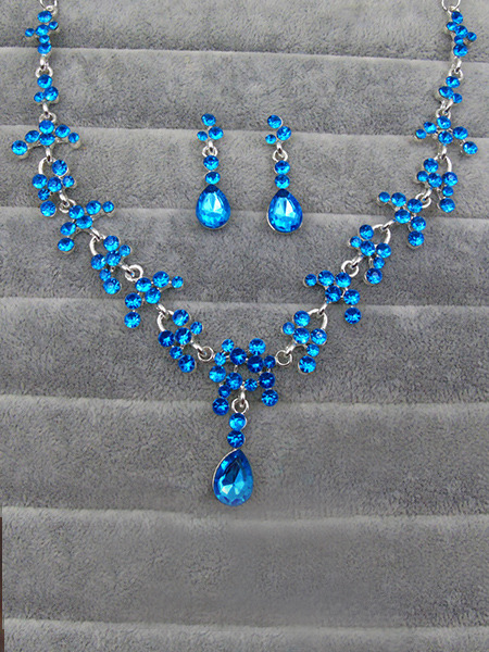Alloy and Rhinestone Sapphire Necklace Set