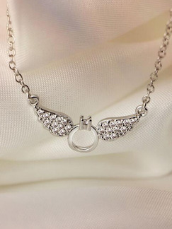 White Gold Plated Ring Wings Silver Chain Necklace