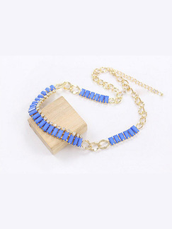 Alloy and Plastic Chain Collar Necklace