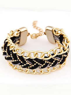 Alloy and Braided Link Bracelet