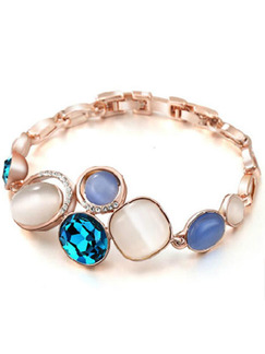 Alloy and Cat's Eye Stone Charm Link Bracelet