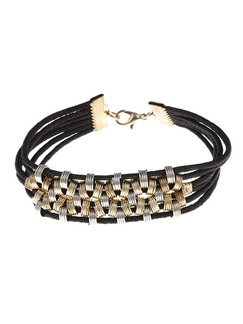 Leather and Alloy Multi-Strand Bangle