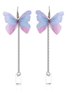 Alloy and Plastic Butterfly Dangle Stud