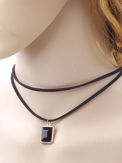 Leather and Plastic Collar Necklace