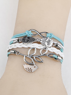 Alloy and Leather Friendship Multi-Strand Bracelet