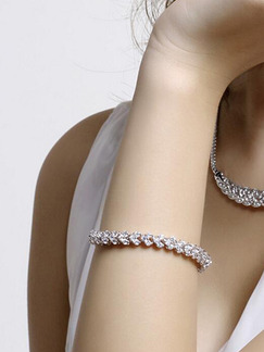 White Gold Plated and Rhinestone Bracelet