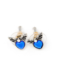Alloy and Gemstone Heart Stud