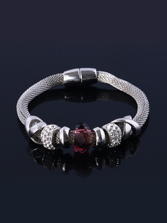 Alloy and Crystal Ruby Bangle