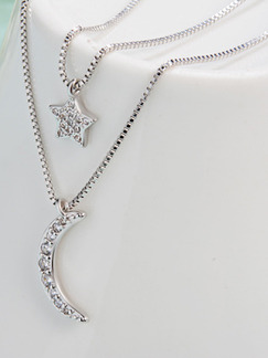 Silver Plated and Alloy Layered Moon and Star Necklace