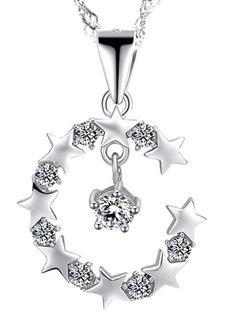 Silver Plated and Rhinestone Star Pendant