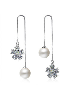 Silver Plated and Pearls Dangle Stud