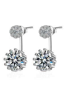Silver Plated and Rhinestone Dangle Stud