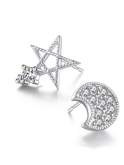 Silver Plated and Rhinestone Asymmetric Moon and Star Stud