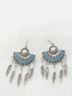 Alloy Hook Dangle Feather Stud
