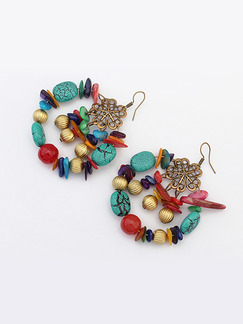 Alloy and Plastic Assorted Gemstone Hook Stud