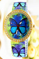 Colorful Alloy Band Rhinestone Butterfly Quartz Watch