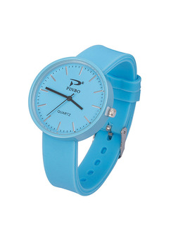 Blue Silicone Band Pin Buckle Quartz Watch