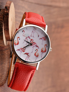 Red Leather Band Belt Pin Buckle Quartz Watch