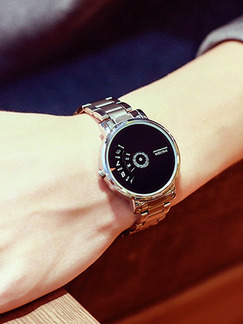 Silver Alloy Band Deployment Buckle Quartz Watch