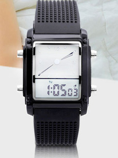 Black Silicone Band Pin Buckle Digital Watch