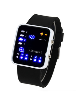 Black Silicone Band Pin Buckle Digital Waterproof Watch