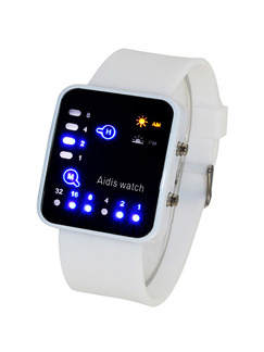 White Silicone Band Pin Buckle Digital Waterproof Watch