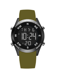 Green Silicone Band Pin Buckle Digital Waterproof Calendar Backlight Watch