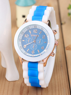 White and Blue Silicone Band Pin Buckle Quartz Watch
