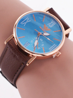 Brown Leather Band Belt Pin Buckle Quartz Watch