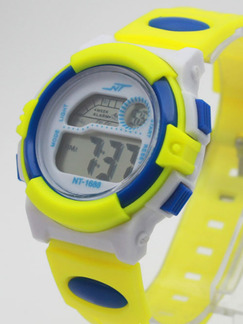 White Yellow and Blue Rubber Band Pin Buckle Digital Watch