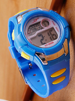 Blue Yellow Rubber Band Pin Buckle Digital Watch